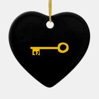 Llave del oro en negro. Personalizado Adorno De Cerámica En Forma De Corazón