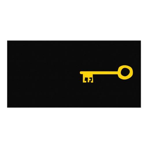 Llave del oro en negro tarjeta personal con foto
