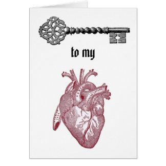 Llave del vintage a mi tarjeta del corazón