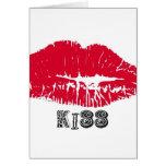 Llave electrónica roja de los labios del beso felicitaciones