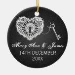 Llave elegante del favor del boda a mi negro del c adornos de navidad