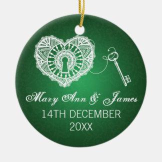Llave elegante del favor del boda a mi verde del adorno navideño redondo de cerámica