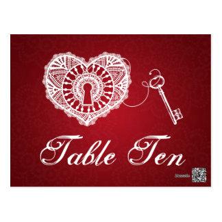Llave elegante del número de la tabla a mi rojo de tarjetas postales