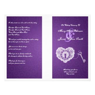 "Llave elegante del programa del boda a mi púrpura  folleto 8.5"" x 11"""
