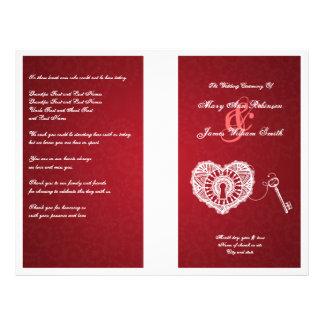 Llave elegante del programa del boda a mi rojo del flyer a todo color