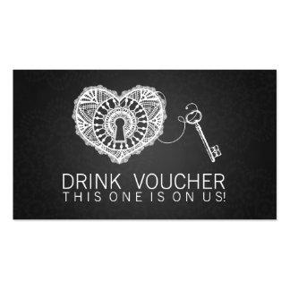 Llave elegante del vale de la bebida a mi negro tarjetas de visita