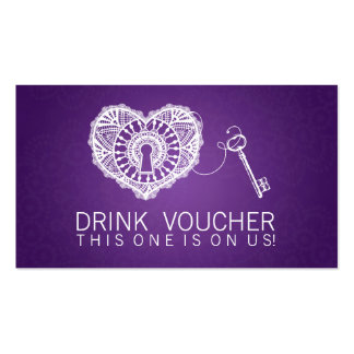 Llave elegante del vale de la bebida a mi púrpura  tarjeta de visita