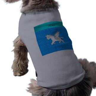 Llave griega azul conocida personalizada de Pegaso Playera Sin Mangas Para Perro