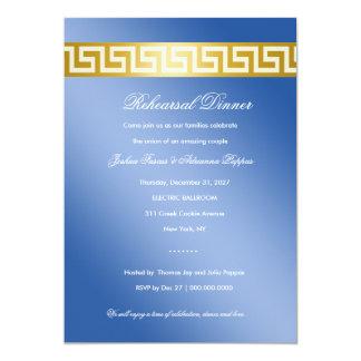 """Llave griega azul de oro 311 invitación 5"""" x 7"""""""