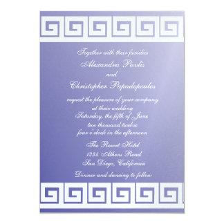 Llave griega azul y blanca invitaciones personalizada