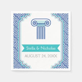 Llave griega azul y boda griego de la columna servilleta de papel