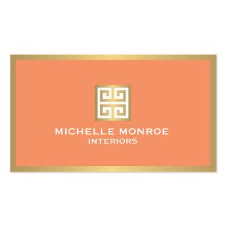 Llave griega del oro elegante en el interiorista tarjetas de visita