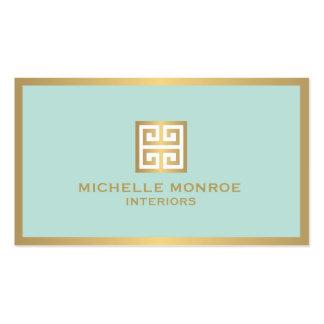 Llave griega del oro elegante en interiorista de tarjetas de visita