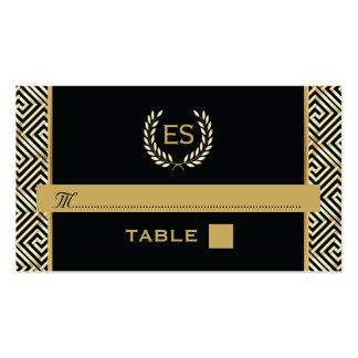 Llave griega del oro y tarjeta del lugar del boda tarjetas de visita
