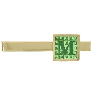 Llave griega, verde esmeralda y cal alfiler de corbata dorado