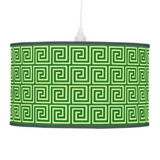 Llave griega, verde esmeralda y cal lámpara de techo