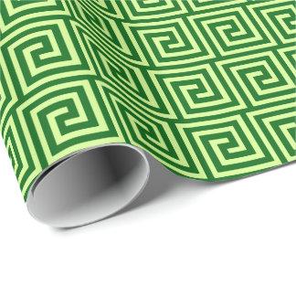 Llave griega, verde esmeralda y cal papel de regalo