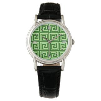 Llave griega, verde esmeralda y cal relojes de pulsera