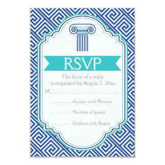 Llave griega y aguamarina, columna azul que casa invitación 8,9 x 12,7 cm