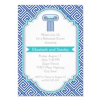 Llave griega y cena azul del ensayo del boda de la invitación 12,7 x 17,8 cm