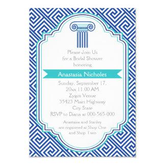Llave griega y columna azul que casan la ducha invitación 12,7 x 17,8 cm