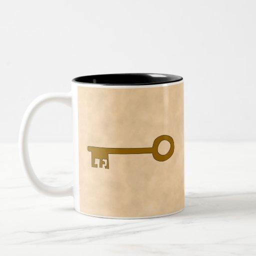 Llave. Llave de Brown en efecto del pergamino Taza De Café