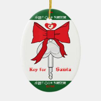 Llave para Santa (abucheo del LA con amor) Adorno Ovalado De Cerámica