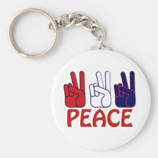 Llavero 4 de julio blanco y azul rojo de la paz