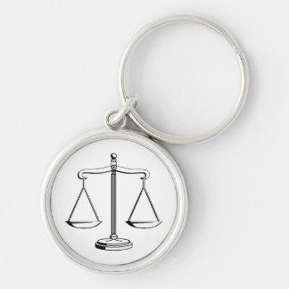 Llavero adaptable con las escalas de la justicia