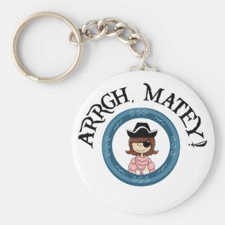 Llavero afable del chica del pirata de Arrgh