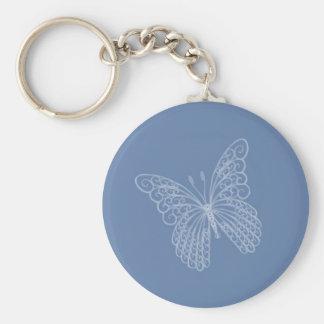 Llavero afiligranado de la mariposa en azul
