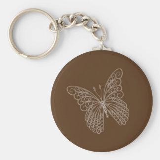 Llavero afiligranado de la mariposa en Brown