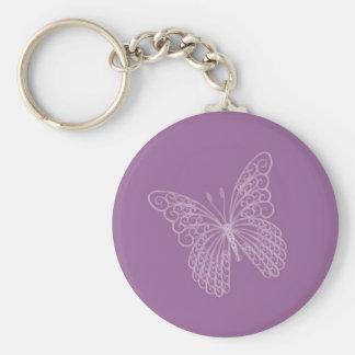 Llavero afiligranado de la mariposa en púrpura