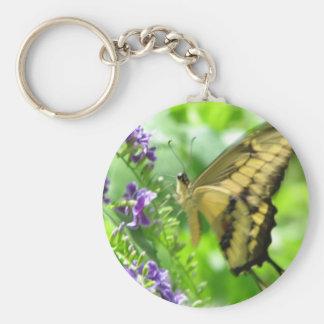Llavero amarillo de la mariposa de Swallowtail