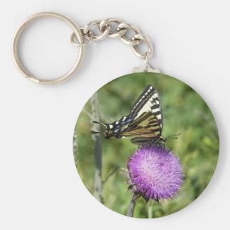 Llavero amarillo de la mariposa del swallowtail