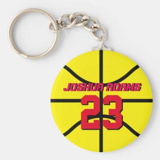 Llavero amarillo del baloncesto de los atletas del
