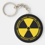 Llavero amarillo del símbolo de la radiación