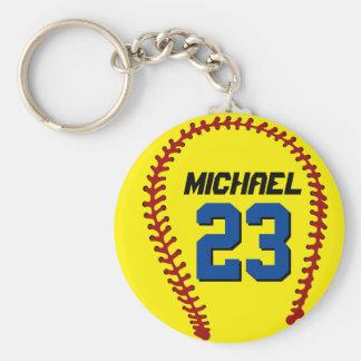 Llavero amarillo del softball para el fan o el