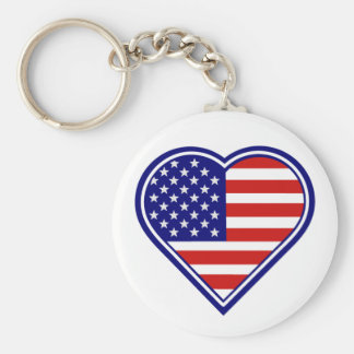 Llavero americano de la bandera del corazón