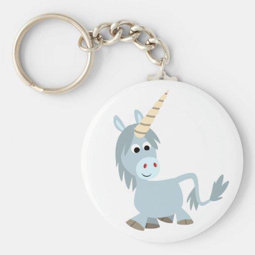 Llavero amistoso lindo del unicornio del dibujo an