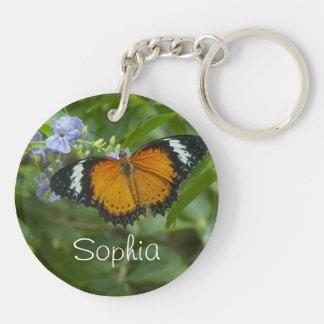 Llavero anaranjado del círculo de la mariposa