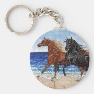 Llavero árabe del caballo de la playa del galope