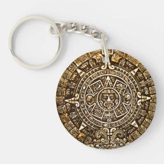 Llavero azteca del calendario de la mirada metálic