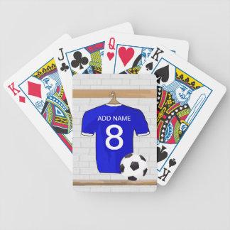 Llavero azul adaptable del jersey de fútbol baraja de cartas