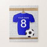Llavero (azul) adaptable del jersey de fútbol puzzle