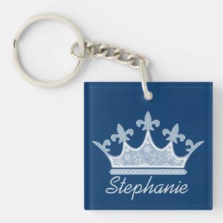 Llavero azul bonito del personalizado de la corona
