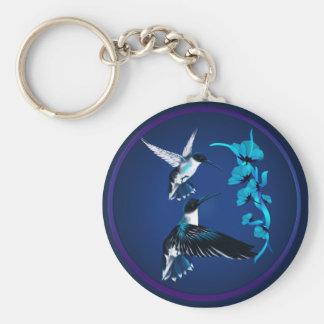 Llavero azul de dos colibríes
