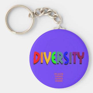 Llavero azul de encargo de la diversidad