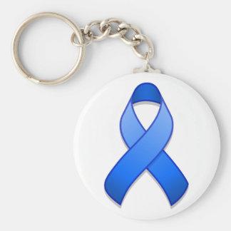 Llavero azul de la cinta de la conciencia