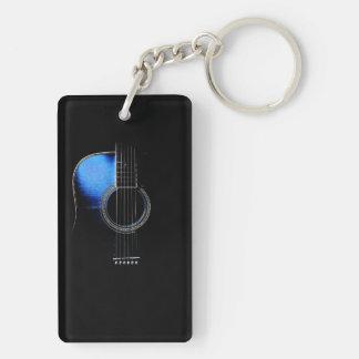 Llavero azul de la guitarra acústica del